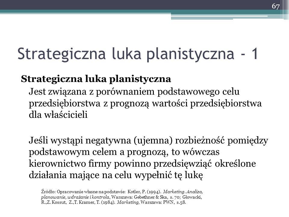 Strategiczna luka planistyczna - 1 Strategiczna luka planistyczna Jest związana z porównaniem podstawowego celu przedsiębiorstwa z prognozą wartości p