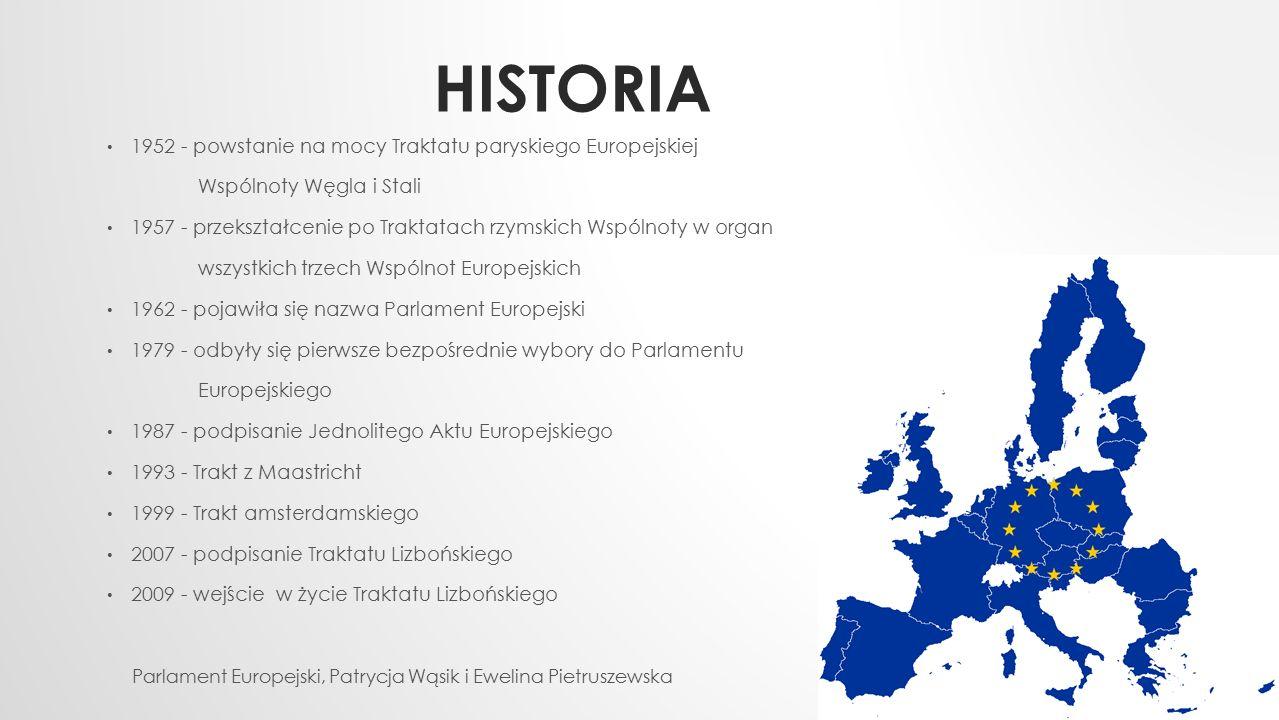 HISTORIA 1952 - powstanie na mocy Traktatu paryskiego Europejskiej Wspólnoty Węgla i Stali 1957 - przekształcenie po Traktatach rzymskich Wspólnoty w