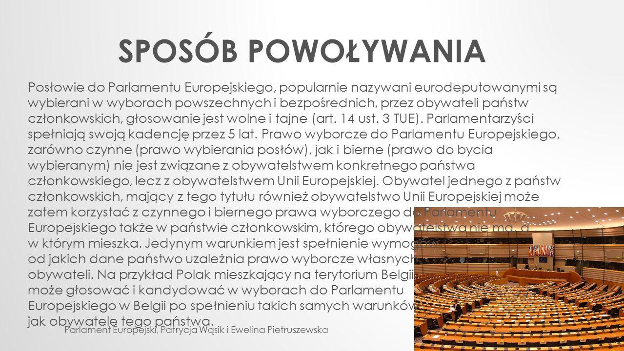 SPOSÓB POWOŁYWANIA Parlament Europejski, Patrycja Wąsik i Ewelina Pietruszewska Posłowie do Parlamentu Europejskiego, popularnie nazywani eurodeputowa