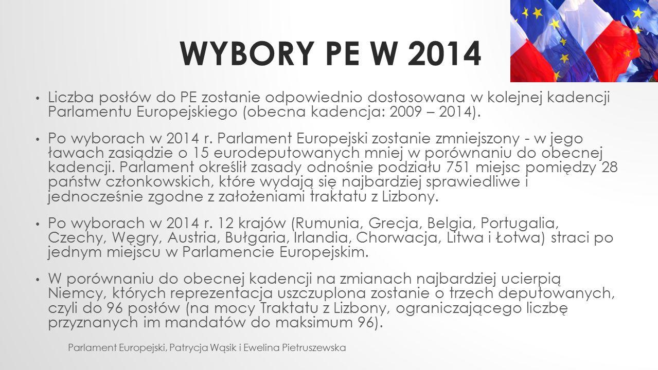 WYBORY PE W 2014 Liczba posłów do PE zostanie odpowiednio dostosowana w kolejnej kadencji Parlamentu Europejskiego (obecna kadencja: 2009 – 2014). Po