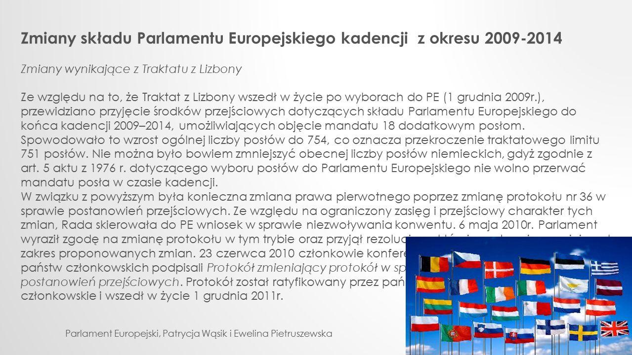 Zmiany składu Parlamentu Europejskiego kadencji z okresu 2009-2014 Zmiany wynikające z Traktatu z Lizbony Ze względu na to, że Traktat z Lizbony wszed