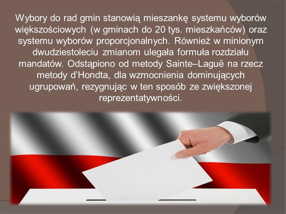Wybory do rad gmin stanowią mieszankę systemu wyborów większościowych (w gminach do 20 tys.
