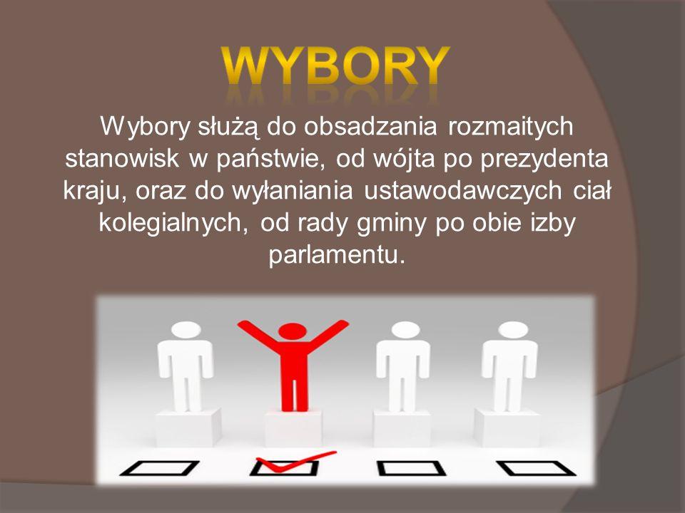Wybory służą do obsadzania rozmaitych stanowisk w państwie, od wójta po prezydenta kraju, oraz do wyłaniania ustawodawczych ciał kolegialnych, od rady gminy po obie izby parlamentu.