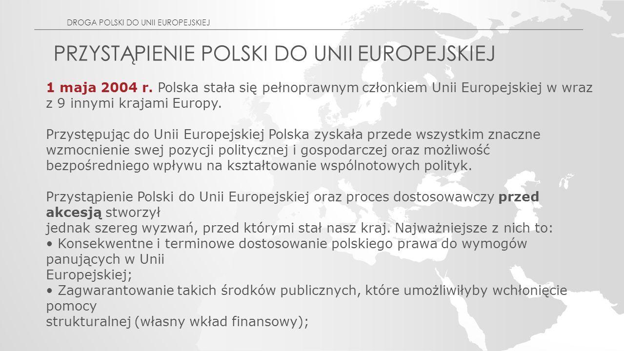 PRZYSTĄPIENIE POLSKI DO UNII EUROPEJSKIEJ 1 maja 2004 r.