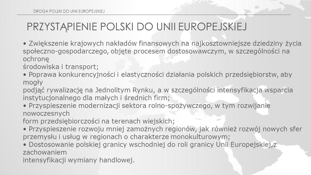 PRZYSTĄPIENIE POLSKI DO UNII EUROPEJSKIEJ Zwiększenie krajowych nakładów finansowych na najkosztowniejsze dziedziny życia społeczno-gospodarczego, objęte procesem dostosowawczym, w szczególności na ochronę środowiska i transport; Poprawa konkurencyjności i elastyczności działania polskich przedsiębiorstw, aby mogły podjąć rywalizację na Jednolitym Rynku, a w szczególności intensyfikacja wsparcia instytucjonalnego dla małych i średnich firm; Przyspieszenie modernizacji sektora rolno-spożywczego, w tym rozwijanie nowoczesnych form przedsiębiorczości na terenach wiejskich; Przyspieszenie rozwoju mniej zamożnych regionów, jak również rozwój nowych sfer przemysłu i usług w regionach o charakterze monokulturowym; Dostosowanie polskiej granicy wschodniej do roli granicy Unii Europejskiej,z zachowaniem intensyfikacji wymiany handlowej.