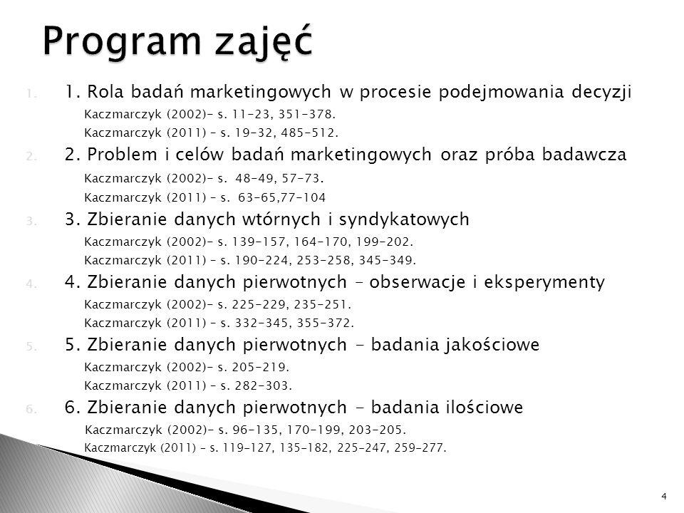 1. 1. Rola badań marketingowych w procesie podejmowania decyzji Kaczmarczyk (2002)- s. 11-23, 351-378. Kaczmarczyk (2011) – s. 19-32, 485-512. 2. 2. P