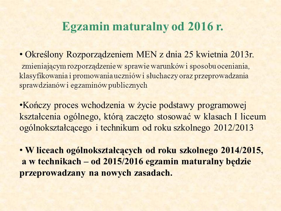 Egzamin maturalny od 2016 r. Określony Rozporządzeniem MEN z dnia 25 kwietnia 2013r.