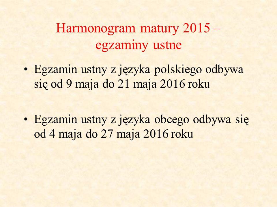 Harmonogram matury 2015 – egzaminy ustne Egzamin ustny z języka polskiego odbywa się od 9 maja do 21 maja 2016 roku Egzamin ustny z języka obcego odbywa się od 4 maja do 27 maja 2016 roku
