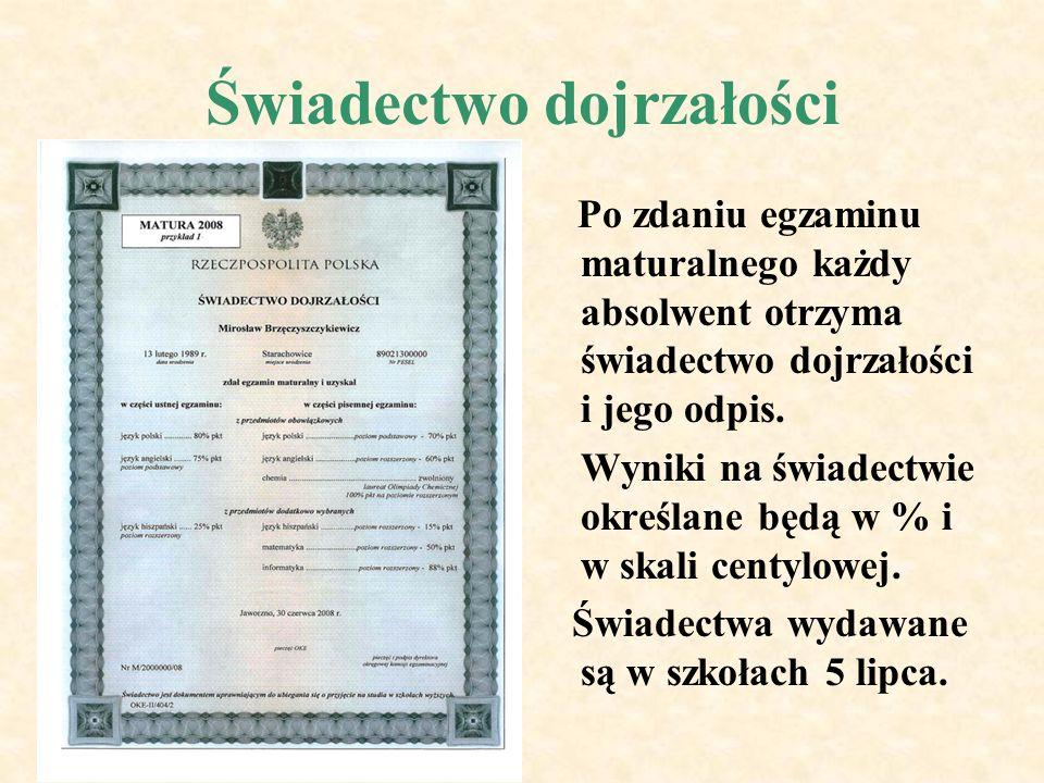 Świadectwo dojrzałości Po zdaniu egzaminu maturalnego każdy absolwent otrzyma świadectwo dojrzałości i jego odpis.