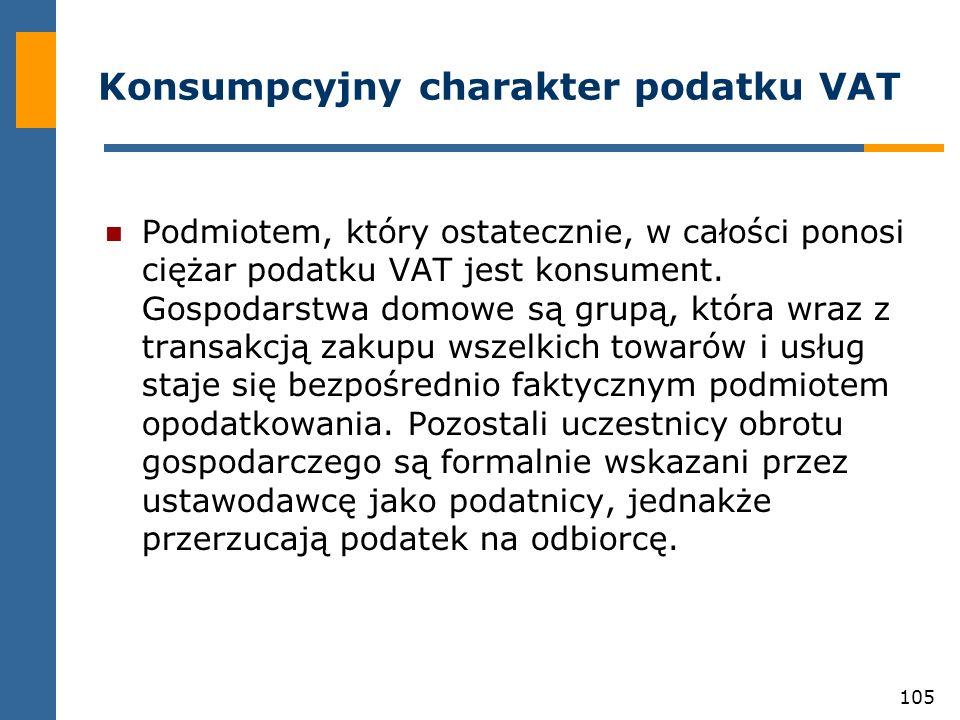 105 Konsumpcyjny charakter podatku VAT Podmiotem, który ostatecznie, w całości ponosi ciężar podatku VAT jest konsument. Gospodarstwa domowe są grupą,