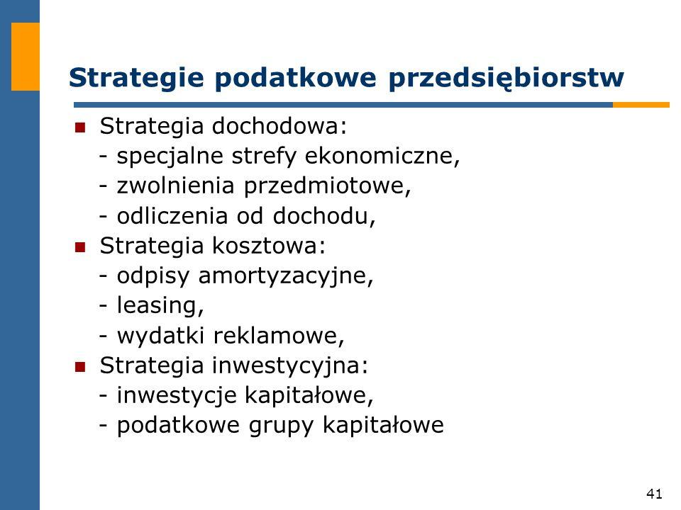 41 Strategie podatkowe przedsiębiorstw Strategia dochodowa: - specjalne strefy ekonomiczne, - zwolnienia przedmiotowe, - odliczenia od dochodu, Strate