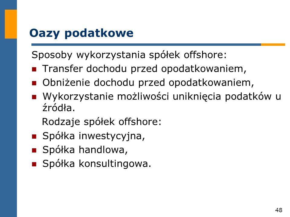 48 Oazy podatkowe Sposoby wykorzystania spółek offshore: Transfer dochodu przed opodatkowaniem, Obniżenie dochodu przed opodatkowaniem, Wykorzystanie