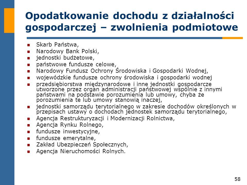 58 Opodatkowanie dochodu z działalności gospodarczej – zwolnienia podmiotowe Skarb Państwa, Narodowy Bank Polski, jednostki budżetowe, państwowe fundu
