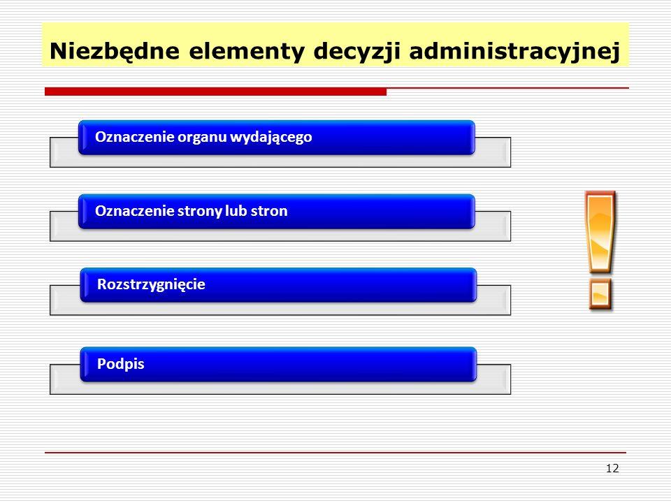 Niezbędne elementy decyzji administracyjnej 12 Oznaczenie organu wydającegoOznaczenie strony lub stron Podpis Rozstrzygnięcie