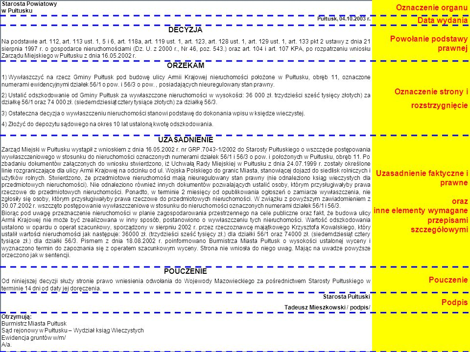 13 Starosta Powiatowy w Pułtusku Oznaczenie organu Pułtusk, 04.10.2003 r.