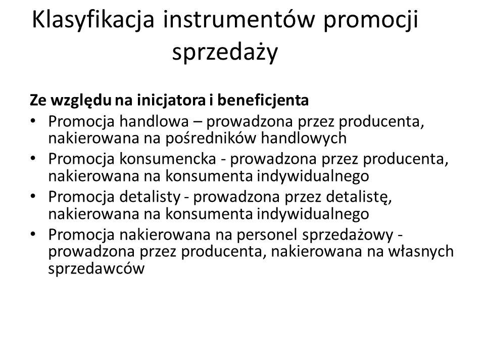 Klasyfikacja instrumentów promocji sprzedaży Ze względu na charakter poczynań  Promocje podnoszące stopień atrakcyjności produktu to: - możliwość bra