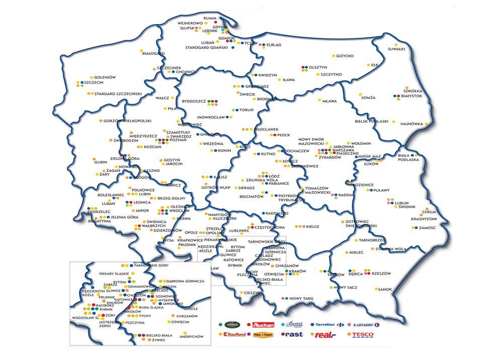 Poziom koncentracji sprzedaży u 5 największych detalistów w krajach zachodnich i w Polsce w roku 2012
