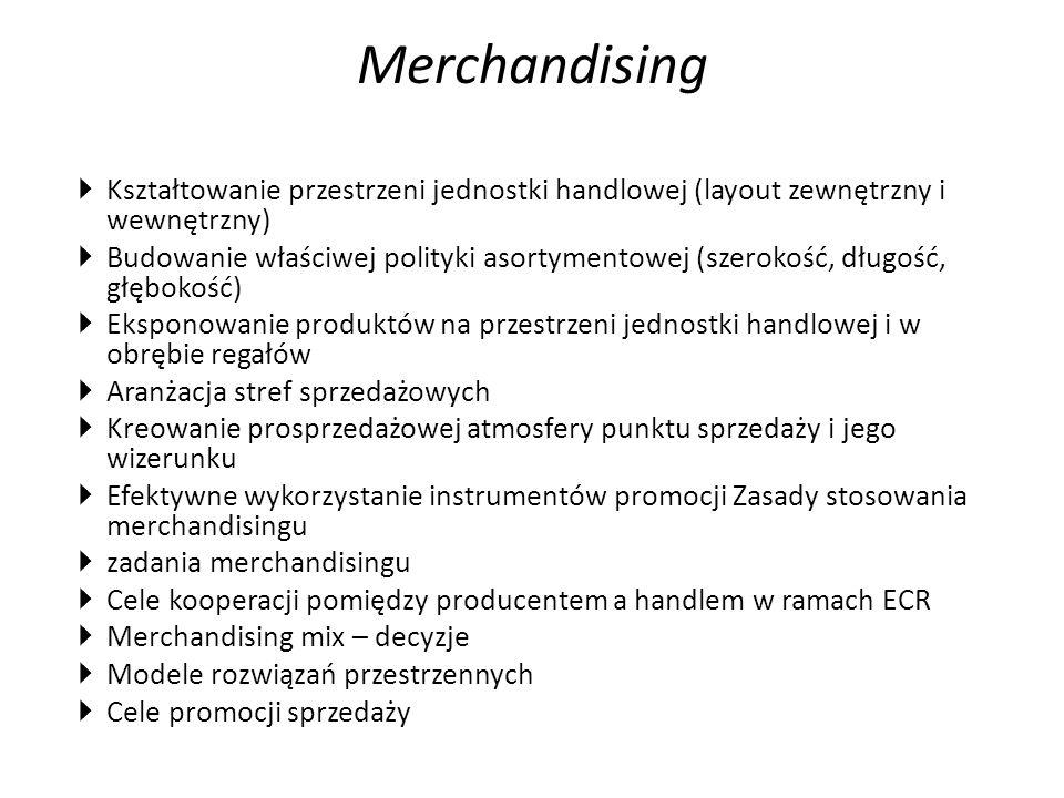  Kształtowanie przestrzeni jednostki handlowej (layout zewnętrzny i wewnętrzny)  Budowanie właściwej polityki asortymentowej (szerokość, długość, głębokość)  Eksponowanie produktów na przestrzeni jednostki handlowej i w obrębie regałów  Aranżacja stref sprzedażowych  Kreowanie prosprzedażowej atmosfery punktu sprzedaży i jego wizerunku  Efektywne wykorzystanie instrumentów promocji Zasady stosowania merchandisingu  zadania merchandisingu  Cele kooperacji pomiędzy producentem a handlem w ramach ECR  Merchandising mix – decyzje  Modele rozwiązań przestrzennych  Cele promocji sprzedaży Merchandising