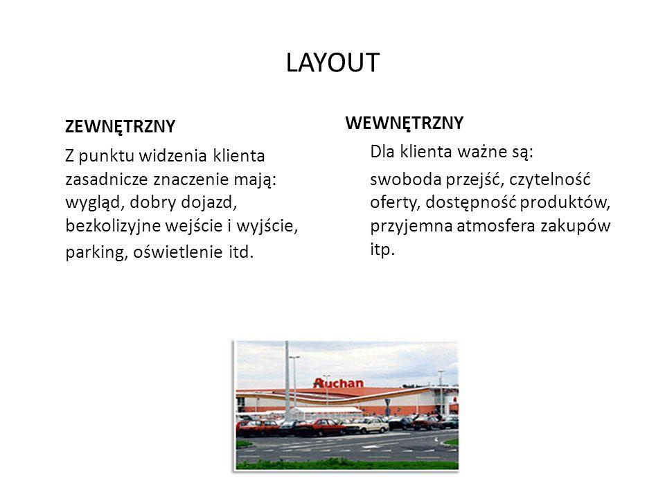 MERCHANDISING MIX – DECYZJE 1.Kształtowanie przestrzeni jednostki handlowej (layout zewnętrzny i wewnętrzny) 2.Budowanie właściwej polityki asortyment