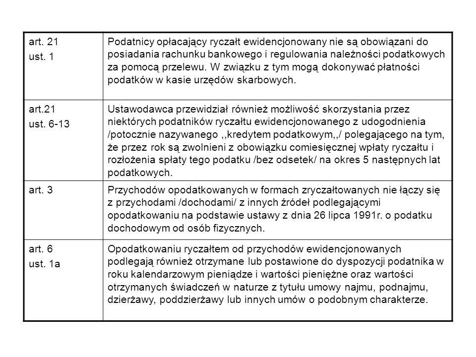 art. 21 ust. 1 Podatnicy opłacający ryczałt ewidencjonowany nie są obowiązani do posiadania rachunku bankowego i regulowania należności podatkowych za