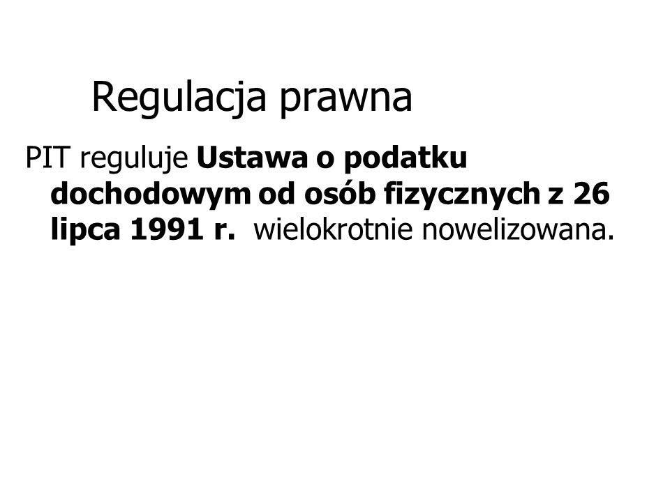 Regulacja prawna PIT reguluje Ustawa o podatku dochodowym od osób fizycznych z 26 lipca 1991 r. wielokrotnie nowelizowana.