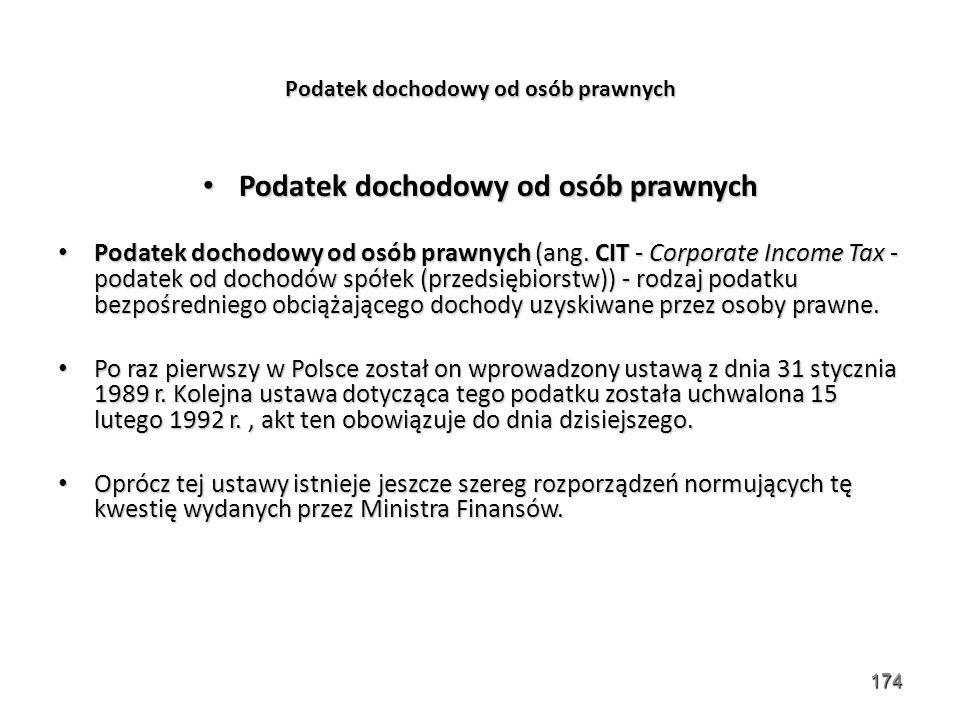 174 Podatek dochodowy od osób prawnych Podatek dochodowy od osób prawnych Podatek dochodowy od osób prawnych (ang. CIT - Corporate Income Tax - podate