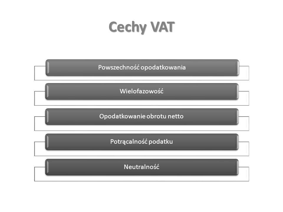 Cechy VAT Powszechność opodatkowania WielofazowośćOpodatkowanie obrotu netto Potrącalność podatku Neutralność