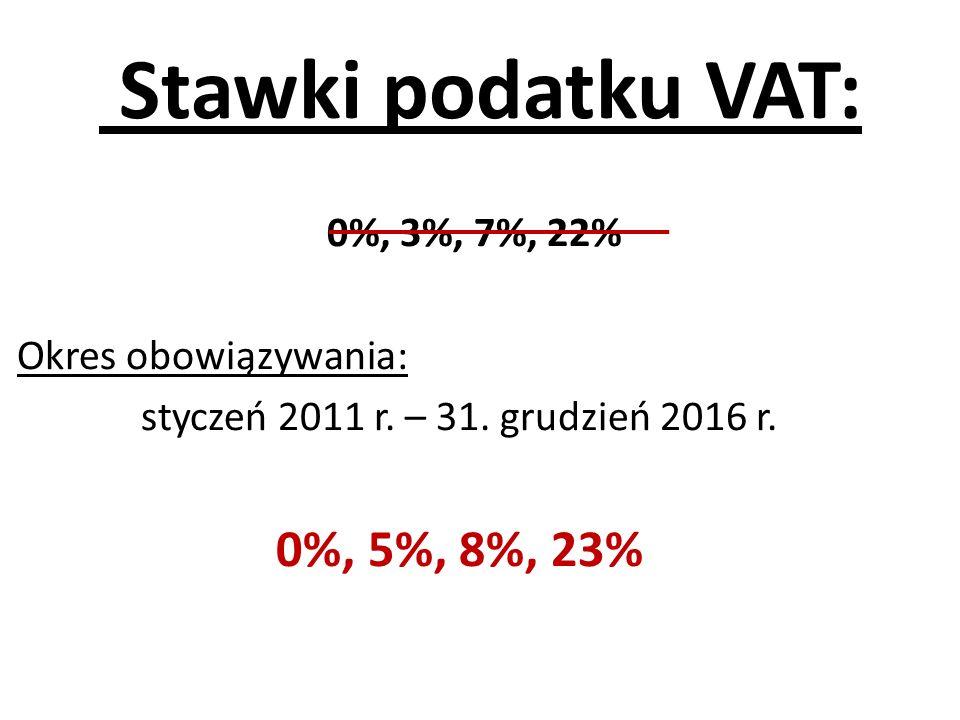 Stawki podatku VAT: 0%, 3%, 7%, 22% Okres obowiązywania: styczeń 2011 r. – 31. grudzień 2016 r. 0%, 5%, 8%, 23%