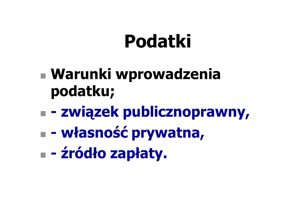 Podatki wg przedmiotu opodatkowania I.Podatki przychodowe, II.