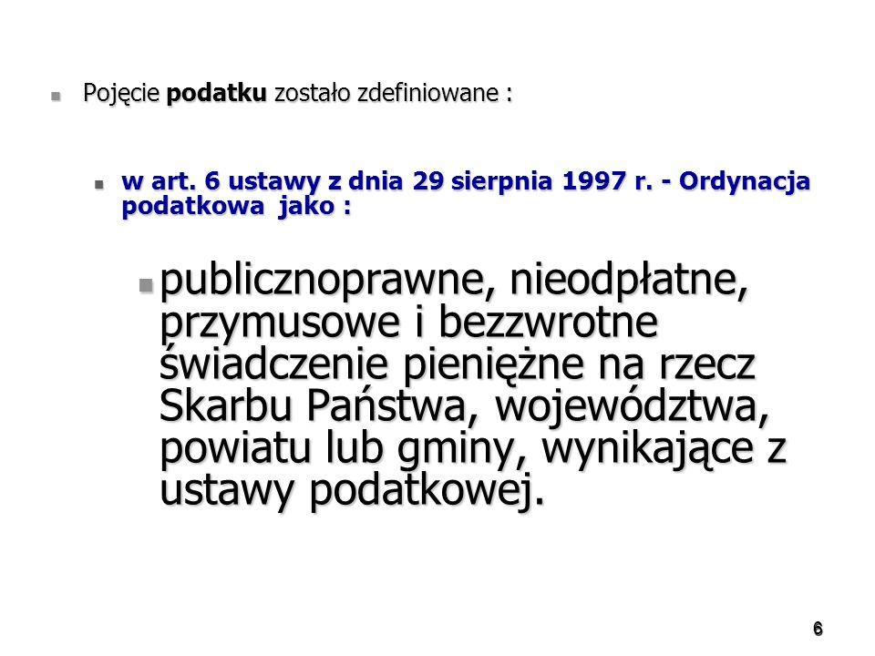 187 Podatek dochodowy od osób prawnych Podmiotami zwolnionymi z tego podatku są: Podmiotami zwolnionymi z tego podatku są: – Skarb Państwa – Narodowy Bank Polski, – jednostki budżetowe, – Fundusze celowe utworzone, – przedsiębiorstwa międzynarodowe i inne jednostki gospodarcze utworzone przez organ administracji państwowej wspólnie z innymi państwami, – Jednostki samorządu terytorialnego w zakresie dochodów własnych, – Agencja Restrukturyzacji i Modernizacji Rolnictwa, Agencja Rynku Rolnego, Agencja Nieruchomości Rolnych, Agencja Rezerw Materiałowych, – Narodowy Fundusz Ochrony Środowiska i Gospodarki Wodnej, wojewódzkie fundusze ochrony środowiska i gospodarki wodnej – Zakład Ubezpieczeń Społecznych, – Fundusze emerytalne i inwestycyjne, – Fundusz Rezerwy Demograficznej.