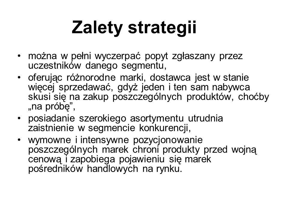 Strategia wielomarkowa Polega na wprowadzaniu do jednego segmentu w tym samym czasie kilku marek.