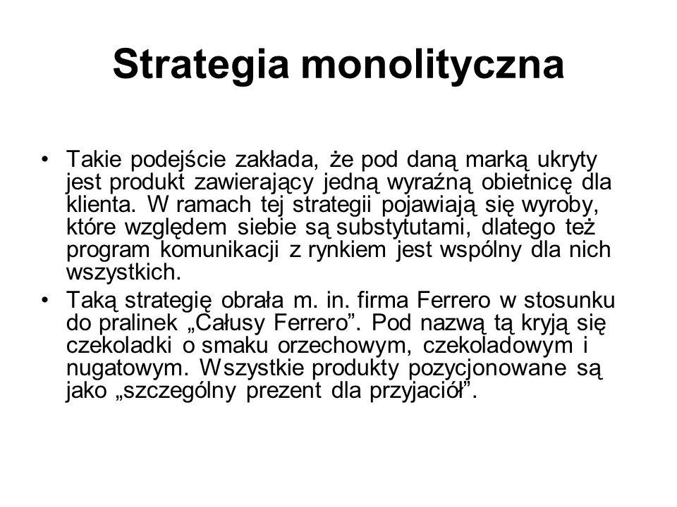Strategie markowania ze względu na różnicowanie produktów pod jedną marką Strategia monolityczna Strategia różnicowania marki