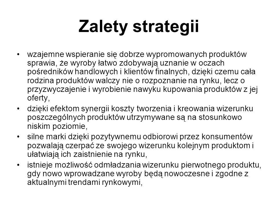 Strategia różnicowania asortymentowego W tym przypadku pod jedną marką oferowanych jest wiele produktów o różnym pozycjonowaniu oraz w różnych wersjach.