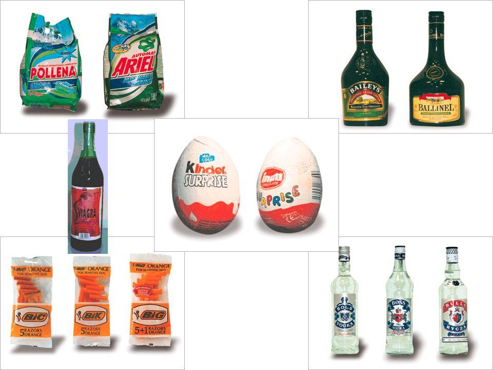 Istnieją 3 podstawowe sposoby wykorzystywania renomy znanych marek: Podrabianie produktów i znaków towarowych (np.