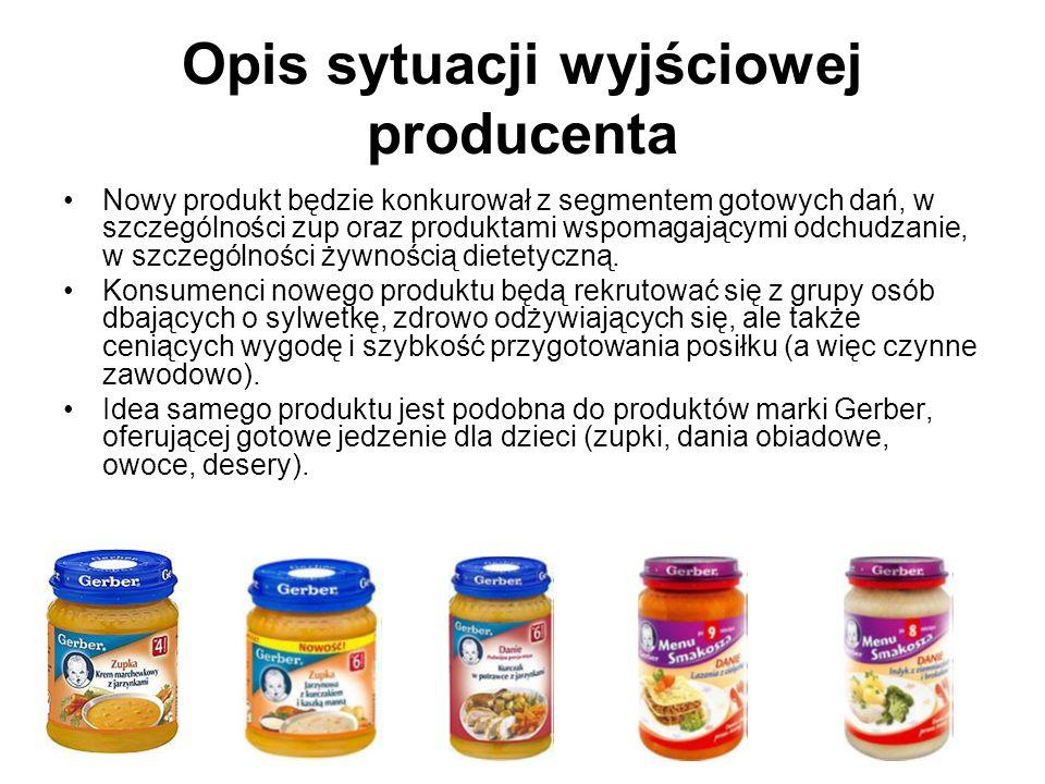 Opis sytuacji wyjściowej producenta Producent szerokiego asortymentu dań gotowych planuje wprowadzenie na rynek niskokalorycznego dania, które będzie rozpoczynało serię produktów dla osób dbających o wagę.