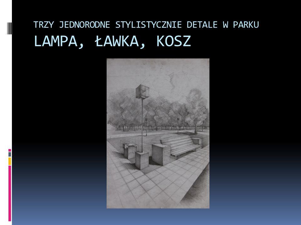 TRZY JEDNORODNE STYLISTYCZNIE DETALE W PARKU LAMPA, ŁAWKA, KOSZ