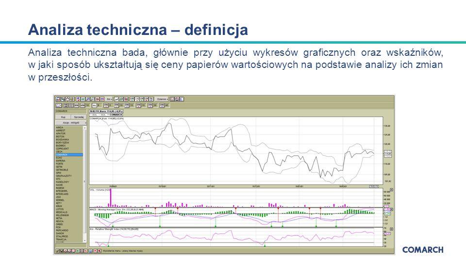 Analiza techniczna bada, głównie przy użyciu wykresów graficznych oraz wskaźników, w jaki sposób ukształtują się ceny papierów wartościowych na podstawie analizy ich zmian w przeszłości.
