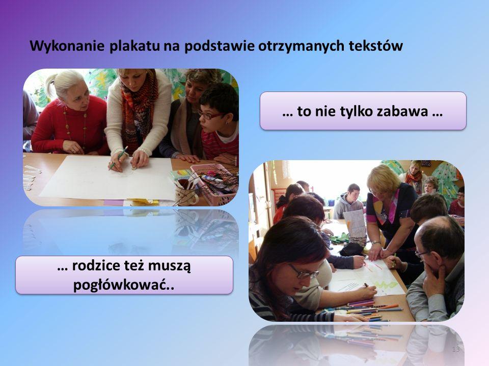 Wykonanie plakatu na podstawie otrzymanych tekstów 13 … to nie tylko zabawa … … rodzice też muszą pogłówkować..