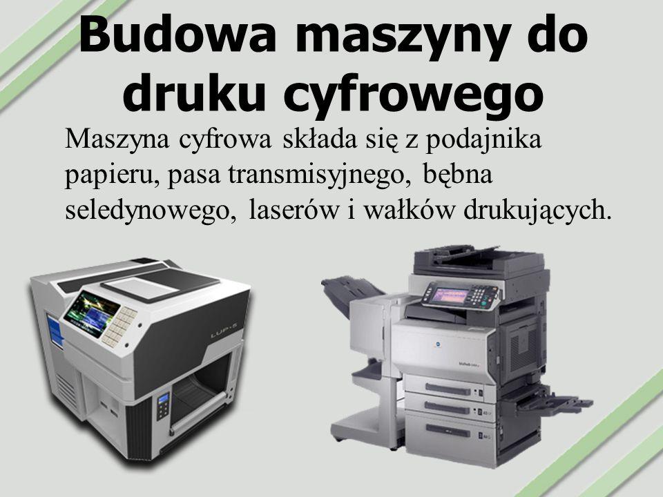 Budowa maszyny do druku cyfrowego Maszyna cyfrowa składa się z podajnika papieru, pasa transmisyjnego, bębna seledynowego, laserów i wałków drukującyc