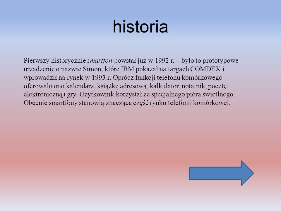 historia Pierwszy historycznie smartfon powstał już w 1992 r. – było to prototypowe urządzenie o nazwie Simon, które IBM pokazał na targach COMDEX i w