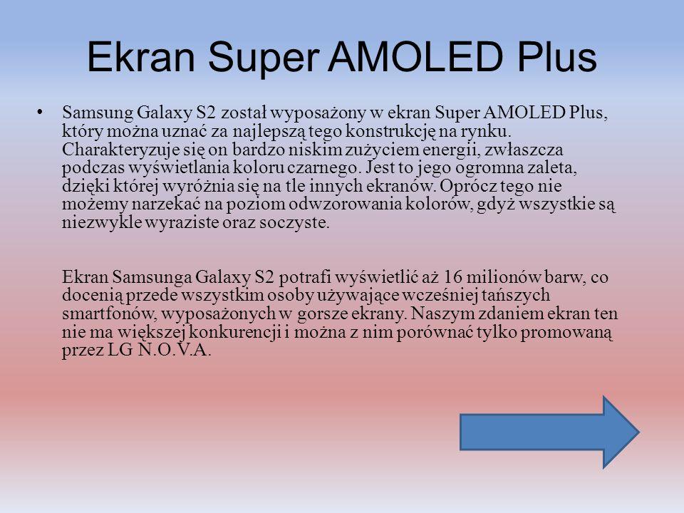 Ekran Super AMOLED Plus Samsung Galaxy S2 został wyposażony w ekran Super AMOLED Plus, który można uznać za najlepszą tego konstrukcję na rynku. Chara