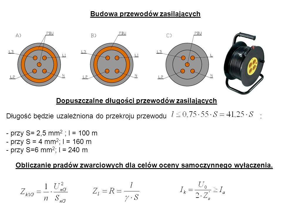 Długość będzie uzależniona do przekroju przewodu: - przy S= 2,5 mm 2 ; l = 100 m - przy S = 4 mm 2 ; l = 160 m - przy S=6 mm 2 ; l = 240 m Obliczanie prądów zwarciowych dla celów oceny samoczynnego wyłączenia.