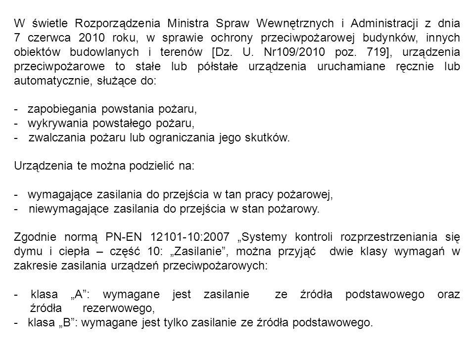 W świetle Rozporządzenia Ministra Spraw Wewnętrznych i Administracji z dnia 7 czerwca 2010 roku, w sprawie ochrony przeciwpożarowej budynków, innych obiektów budowlanych i terenów [Dz.