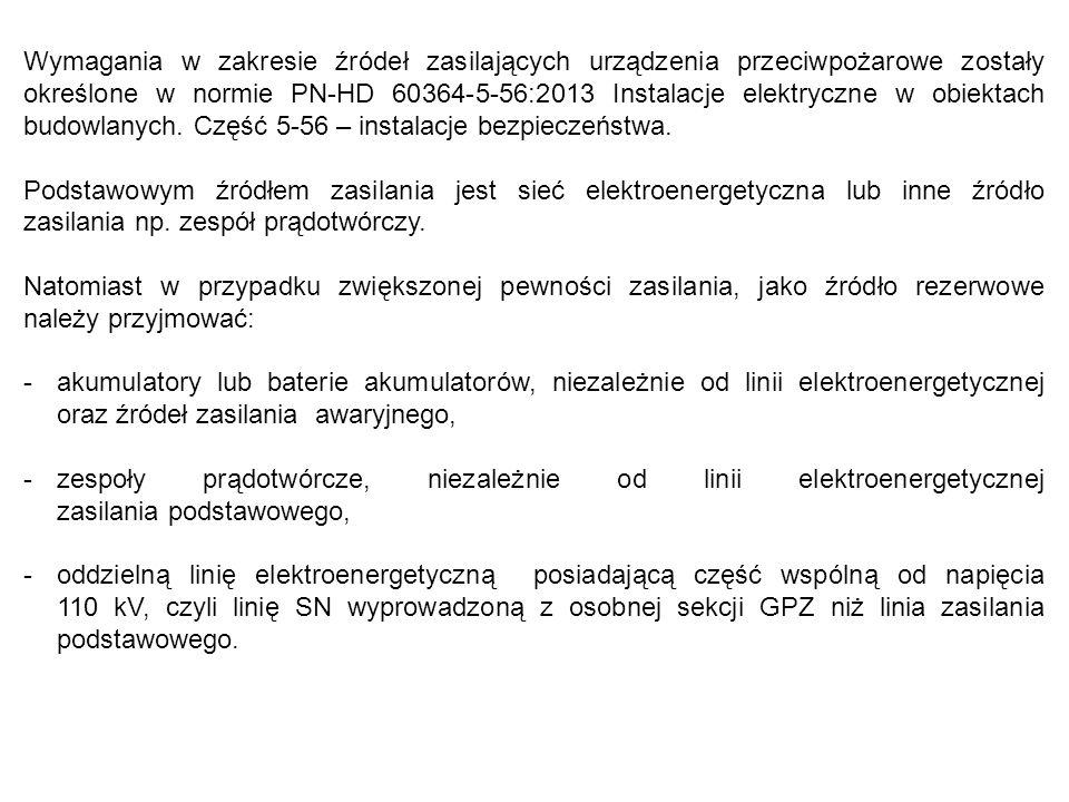 Wymagania w zakresie źródeł zasilających urządzenia przeciwpożarowe zostały określone w normie PN-HD 60364-5-56:2013 Instalacje elektryczne w obiektach budowlanych.