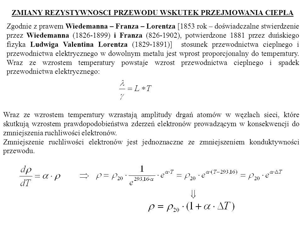 ZMIANY REZYSTYWNOSCI PRZEWODU WSKUTEK PRZEJMOWANIA CIEPŁA Zgodnie z prawem Wiedemanna – Franza – Lorentza [1853 rok – doświadczalne stwierdzenie przez Wiedemanna (1826-1899) i Franza (826-1902), potwierdzone 1881 przez duńskiego fizyka Ludwiga Valentina Lorentza (1829-1891)] stosunek przewodnictwa cieplnego i przewodnictwa elektrycznego w dowolnym metalu jest wprost proporcjonalny do temperatury.