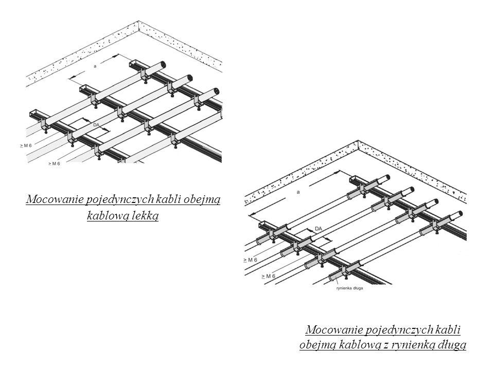Mocowanie pojedynczych kabli obejmą kablową lekką Mocowanie pojedynczych kabli obejmą kablową z rynienką długą