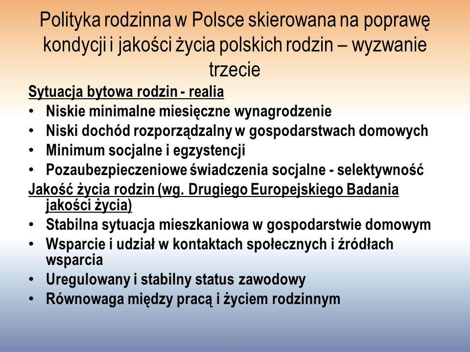 Polityka rodzinna w Polsce skierowana na poprawę kondycji i jakości życia polskich rodzin – wyzwanie trzecie Sytuacja bytowa rodzin - realia Niskie minimalne miesięczne wynagrodzenie Niski dochód rozporządzalny w gospodarstwach domowych Minimum socjalne i egzystencji Pozaubezpieczeniowe świadczenia socjalne - selektywność Jakość życia rodzin (wg.
