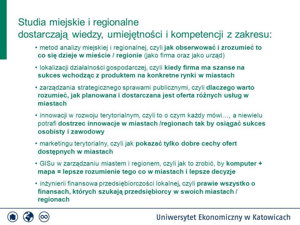 Studia miejskie i regionalne dostarczają wiedzy, umiejętności i kompetencji z zakresu: metod analizy miejskiej i regionalnej, czyli jak obserwować i zrozumieć to co się dzieje w mieście / regionie (jako firma oraz jako urząd) lokalizacji działalności gospodarczej, czyli kiedy firma ma szanse na sukces wchodząc z produktem na konkretne rynki w miastach zarządzania strategicznego sprawami publicznymi, czyli dlaczego warto rozumieć, jak planowana i dostarczana jest oferta różnych usług w miastach innowacji w rozwoju terytorialnym, czyli to o czym każdy mówi…, a niewielu potrafi dostrzec innowacje w miastach /regionach tak by osiągać sukces osobisty i zawodowy marketingu terytorialny, czyli jak pokazać tylko dobre cechy ofert dostępnych w miastach GISu w zarządzaniu miastem i regionem, czyli jak to zrobić, by komputer + mapa = lepsze rozumienie tego co w miastach i lepsze decyzje inżynierii finansowa przedsiębiorczości lokalnej, czyli prawie wszystko o finansach, których szukają przedsiębiorcy w swoich miastach / regionach