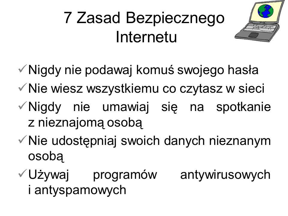 7 Zasad Bezpiecznego Internetu Nigdy nie podawaj komuś swojego hasła Nie wiesz wszystkiemu co czytasz w sieci Nigdy nie umawiaj się na spotkanie z nie