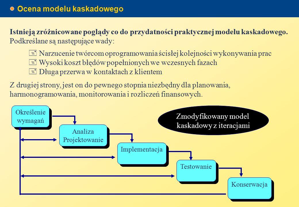 Ocena modelu kaskadowego  Narzucenie twórcom oprogramowania ścisłej kolejności wykonywania prac  Wysoki koszt błędów popełnionych we wczesnych fazach  Długa przerwa w kontaktach z klientem Istnieją zróżnicowane poglądy co do przydatności praktycznej modelu kaskadowego.